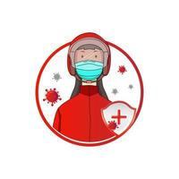 Woman in Helmet and Mask Protecting from Virus