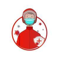 uomo in casco e maschera che protegge dal virus