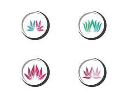 conjunto de logotipo de flor de loto de belleza vector