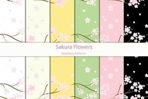 Seamless Floral Sakura Patterns