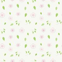 Pink Flowers and Green Leaves Pattern