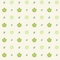 Pattern with Green Flowers on Cream Background