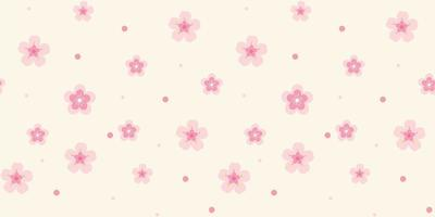 Pattern with Pink Flowers on Light Background