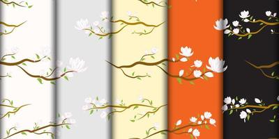 White Japanese Flowers on Branch Pattern Set