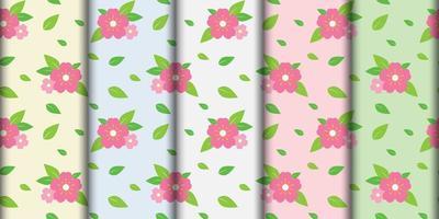 Seamless Pink Flower Pattern Set