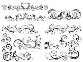 Set of Black Outline Flourishes