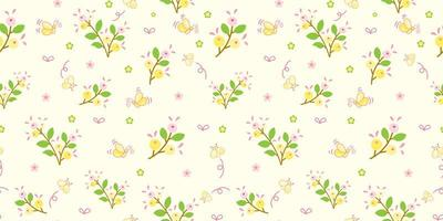 Yellow Flowers and Green Leaves Pattern