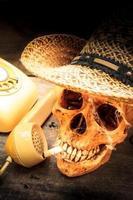 Skull with cigarette, still life.