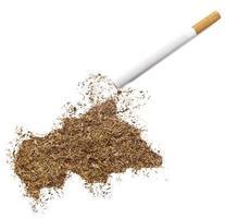 cigarrillo y tabaco en forma de república centroafricana (serie foto