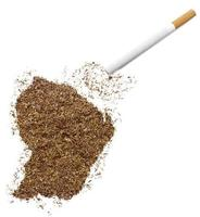 Cigarette and tobacco shaped as French Guiana (series)