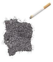 Ash shaped as Ivory Coast and a cigarette.(series)
