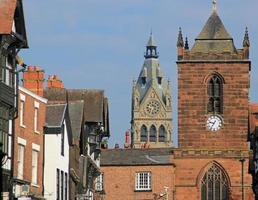 Chester Cathedral, high street e la torre dell'orologio, Chester, Regno Unito