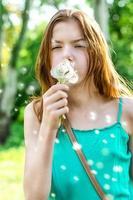 girl teen and dandelion