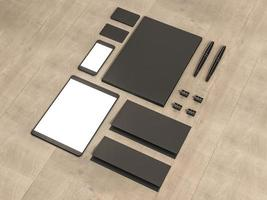 Set of mockup elements on the wood table. photo