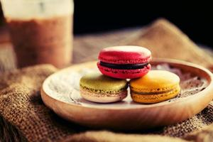 Macaroon dessert served with coffee as afternoon snacks.