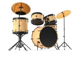 wooden drums isolated. Black drum kit. photo