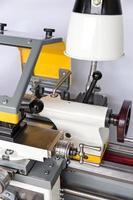 Closeup of a lathe machine photo