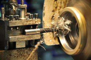 lathe machine in a workshop, Part of the lathe. photo