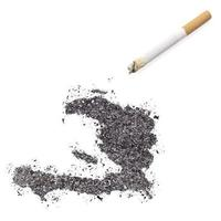 Ash shaped as Haiti and a cigarette.(series)