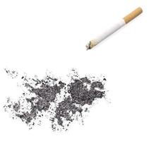 Ash shaped as Falkland Islands and a cigarette.(series) photo