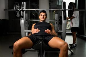 Man resting from bench pressing