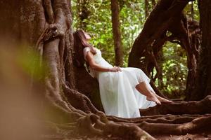 bride at fairy forest photo