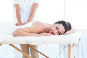 femme, avoir, massage dos