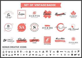 Red and White Studio, Makeup Artists, Bloggers Logo Set vector