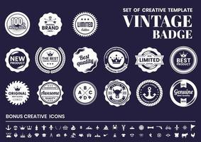 conjunto de distintivo retrô vintage marinho e branco vetor