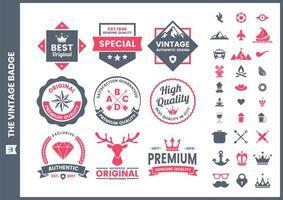 colección de insignias retro premium