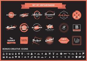 insignia retro vintage conjunto naranja o rojo