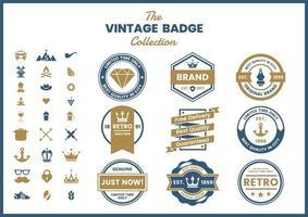 conjunto de elementos de insignia retro clásico