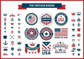 Red and Blue Made in USA, Quality, American Logos Set vector