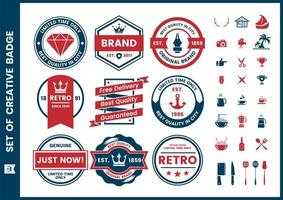 Red and Blue Limited Time, Quality, Genuine Logo Set vector