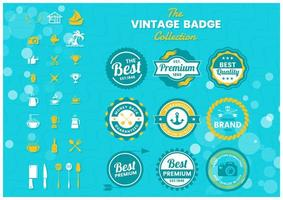 Colorful premium badge set vector