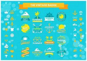 conjunto de logotipos de playa tropical verano azul, amarillo
