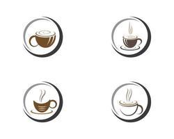 conjunto de modelo de logotipo de xícara de café