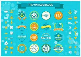 Nautical badge set vector