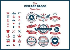 Red and Blue Made in USA, Authentic Logos Set vector