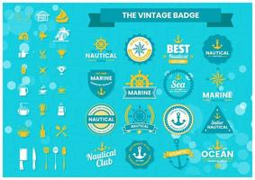 Blue and Yellow Nautical and Marine Logos Set vector