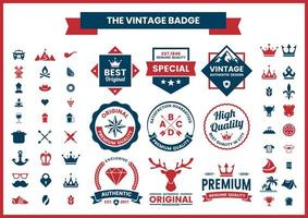 Red and Blue High Quality, Authentic Logos Set vector