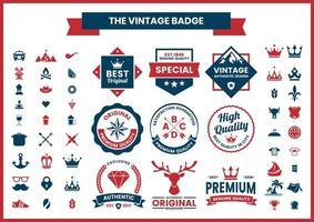 vermelho e azul de alta qualidade, conjunto de logotipos autênticos