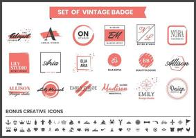 Red and White Logos for Design, Blogger, and Makeup Artist vector