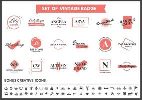 Red and White Logos for Blogger and Fashion Design vector