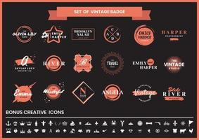 Cafetería roja y negra vintage, fotografía y conjunto de logotipos de estudio vector