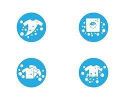 jeu d'icônes de logo bleu blanchisserie vecteur
