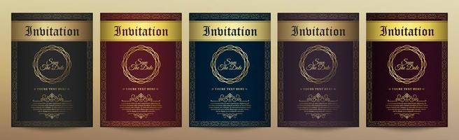 plantilla de tarjeta de invitación de oro vintage de lujo