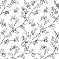 Dibujado a mano bayas de acebo y hojas de diseño sin costuras