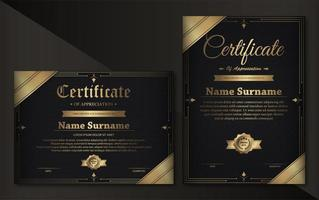 modelo de certificado de luxo preto e dourado