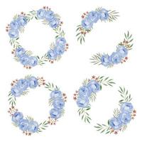 Watercolor  Blue Rose Flower Wreath Frame Collection vector
